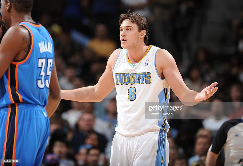 <a gi-track='captionPersonalityLinkClicked' href=/galleries/search?phrase=Danilo+Gallinari&family=editorial&specificpeople=4644476 ng-click='$event.stopPropagation()'>Danilo Gallinari</a> #8 of the Denver Nuggets reacts to a call during the game against the Oklahoma City Thunder on March 15, 2012 at the Pepsi Center in Denver, Colorado.