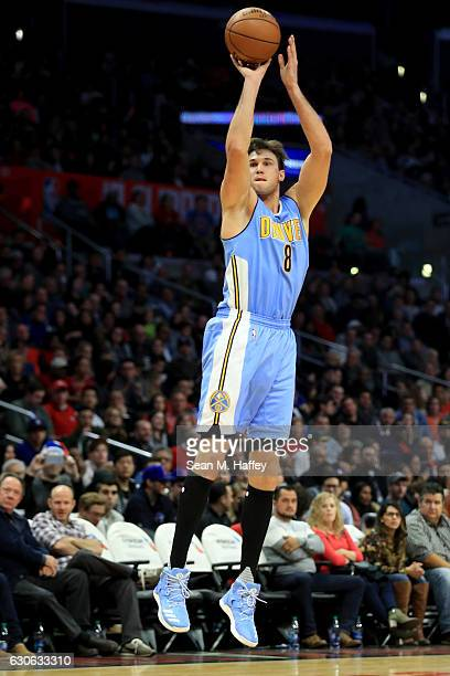 Danilo Gallinari of the Denver Nuggets shoots a jumpshot during the first half of a game against the LA Clippers at Staples Center on December 20...