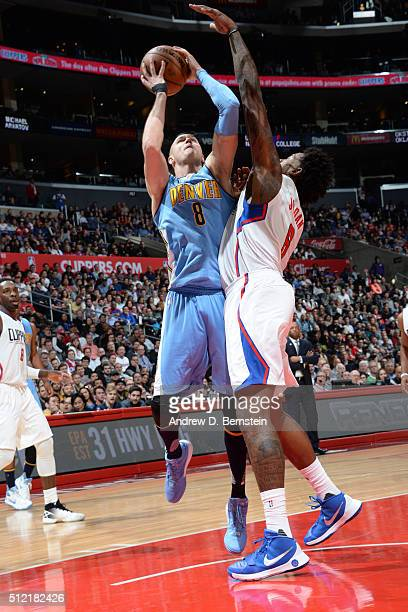 Danilo Gallinari of the Denver Nuggets shoots against the Los Angeles Clippers during the game on February 24 2016 at STAPLES Center in Los Angeles...