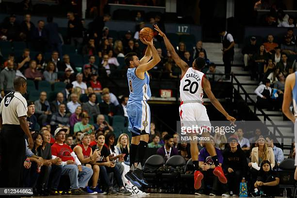 Danilo Gallinari of the Denver Nuggets shoots the ball against the Toronto Raptors on October 3 2016 at the Scotiabank Saddledome in Calagary Alberta...
