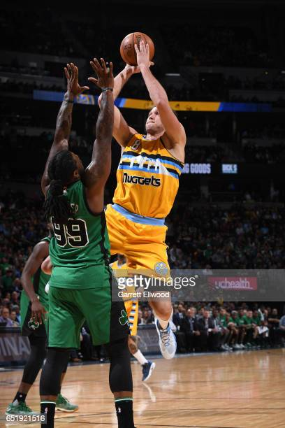 Danilo Gallinari of the Denver Nuggets shoots the ball against the Boston Celtics on March 10 2017 at the Pepsi Center in Denver Colorado NOTE TO...