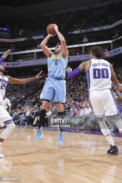Danilo Gallinari of the Denver Nuggets shoots the ball against the Sacramento Kings on March 11 2017 at Golden 1 Center in Sacramento California NOTE...