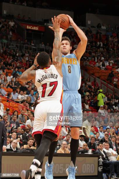 Danilo Gallinari of the Denver Nuggets shoots the ball against the Miami Heat on April 2 2017 at American Airlines Arena in Miami Florida NOTE TO...