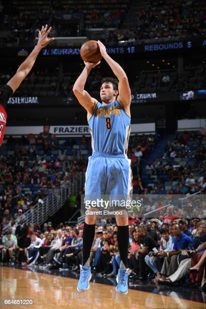 Danilo Gallinari of the Denver Nuggets shoots the ball against the New Orleans Pelicans on April 4 2017 at the Smoothie King Center in New Orleans...