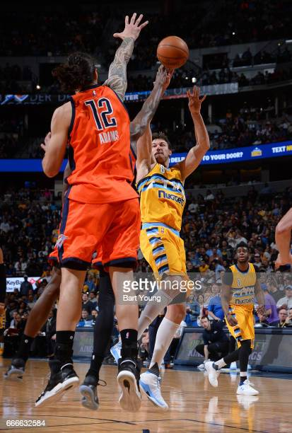 Danilo Gallinari of the Denver Nuggets shoots the ball against the Oklahoma City Thunder on April 9 2017 at the Pepsi Center in Denver Colorado NOTE...