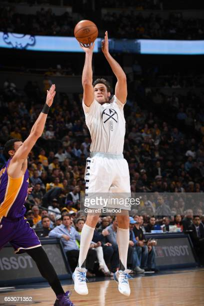 Danilo Gallinari of the Denver Nuggets shoots the ball during a game against the Los Angeles Lakers on March 13 2017 at the Pepsi Center in Denver...