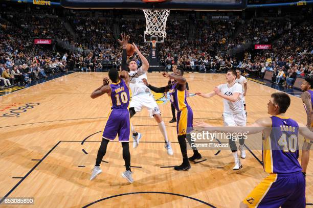 Danilo Gallinari of the Denver Nuggets shoots the ball during a game against the Denver Nuggets on March 13 2017 at the Pepsi Center in Denver...