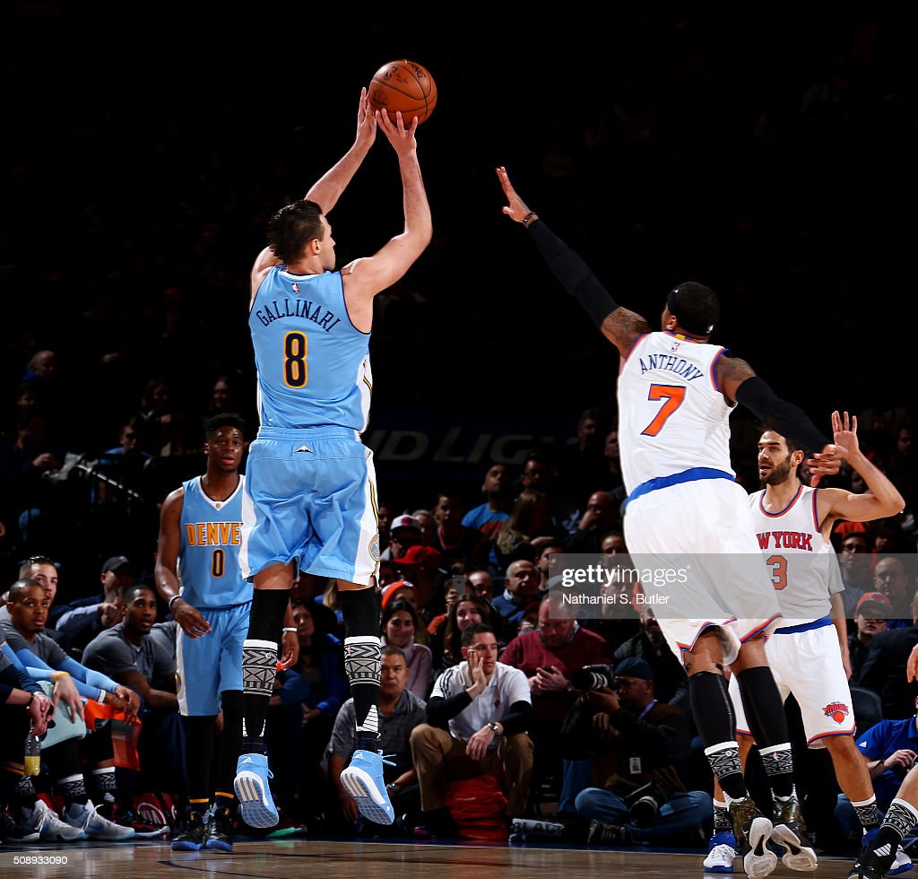 <a gi-track='captionPersonalityLinkClicked' href=/galleries/search?phrase=Danilo+Gallinari&family=editorial&specificpeople=4644476 ng-click='$event.stopPropagation()'>Danilo Gallinari</a> #8 of the Denver Nuggets shoots the ball during the game against the New York Knicks on February 7, 2016 at Madison Square Garden in New York City, New York.