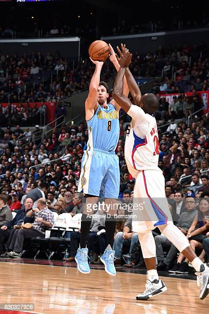 Danilo Gallinari of the Denver Nuggets shoots the ball during the game against the Los Angeles Clippers on December 20 2016 at STAPLES Center in Los...