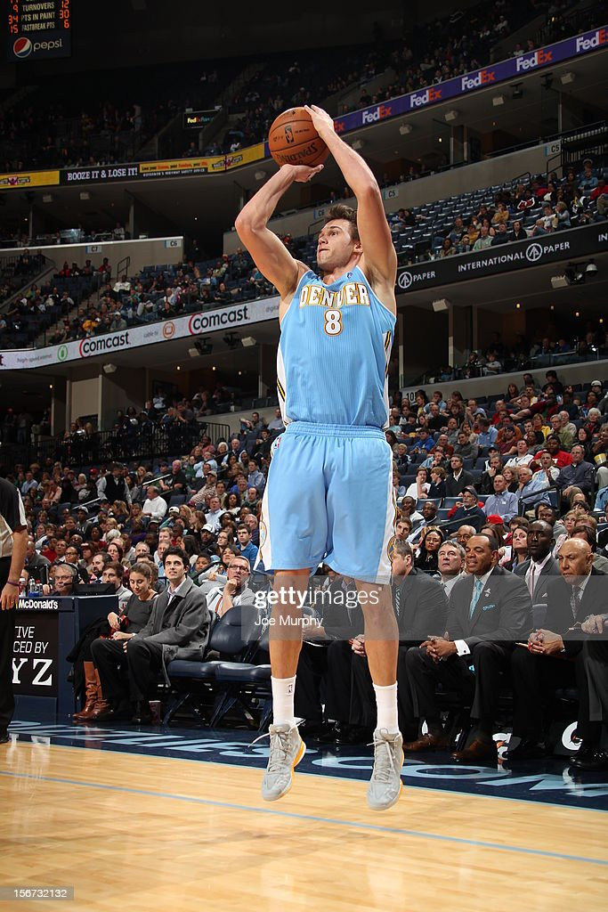 <a gi-track='captionPersonalityLinkClicked' href=/galleries/search?phrase=Danilo+Gallinari&family=editorial&specificpeople=4644476 ng-click='$event.stopPropagation()'>Danilo Gallinari</a> # 8 of the Denver Nuggets shoots the ball vs the Memphis Grizzlies on November 19, 2012 at FedExForum in Memphis, Tennessee.
