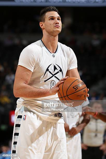 Danilo Gallinari of the Denver Nuggets takes a free throw against the Los Angeles Clippers at Pepsi Center on November 24 2015 in Denver Colorado The...