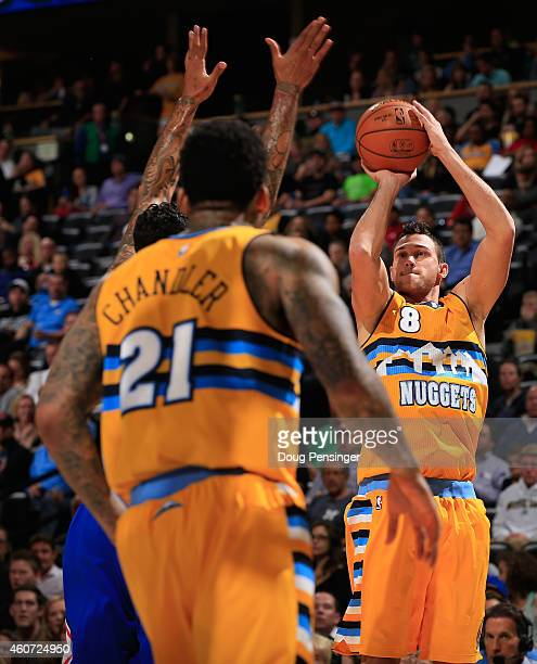 Danilo Gallinari of the Denver Nuggets takes a shot against the Los Angeles Clippers at Pepsi Center on December 19 2014 in Denver Colorado The...