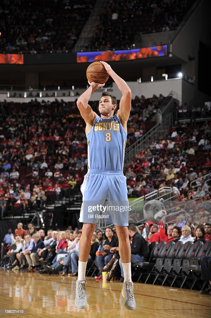 Danilo Gallinari #8 of the Denver Nuggets takes a shot against the Houston Rockets on November 7, 2012 at the Toyota Center in Houston, Texas.
