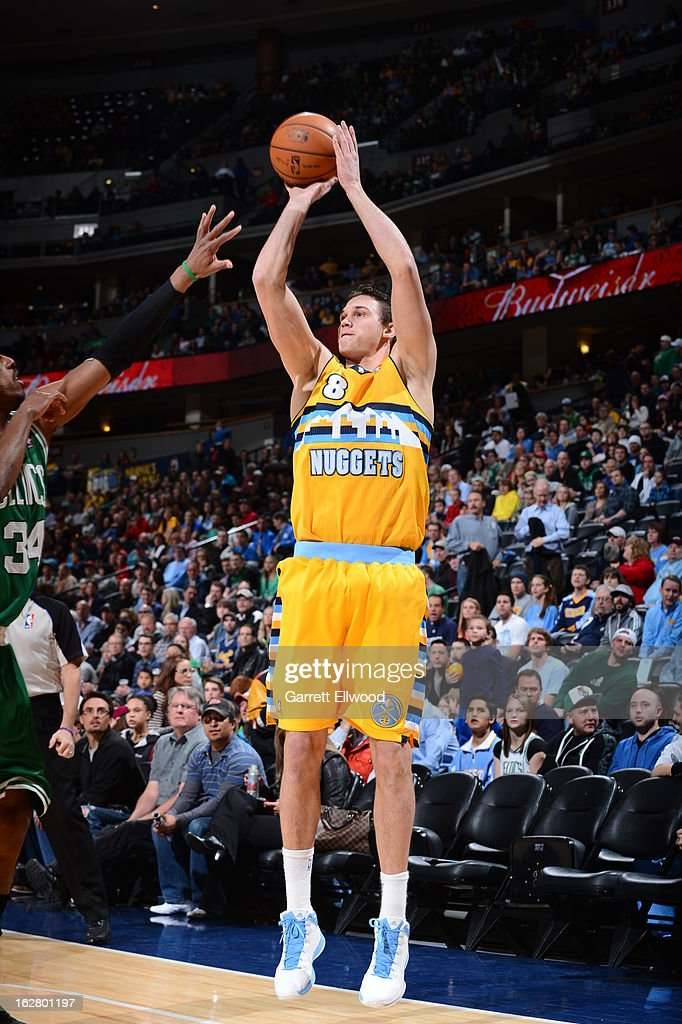 <a gi-track='captionPersonalityLinkClicked' href=/galleries/search?phrase=Danilo+Gallinari&family=editorial&specificpeople=4644476 ng-click='$event.stopPropagation()'>Danilo Gallinari</a> #8 of the Denver Nuggets takes a shot against the Boston Celtics on February 19, 2013 at the Pepsi Center in Denver, Colorado.