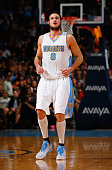 Danilo Gallinari of the Denver Nuggets takes the court against the Los Angeles Lakers at Pepsi Center on April 8 2015 in Denver Colorado The Nuggets...