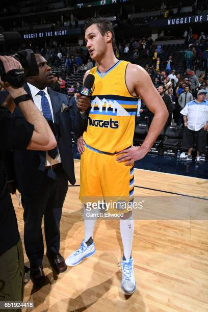 Danilo Gallinari of the Denver Nuggets talks with the media after the game against the Boston Celtics on March 10 2017 at the Pepsi Center in Denver...
