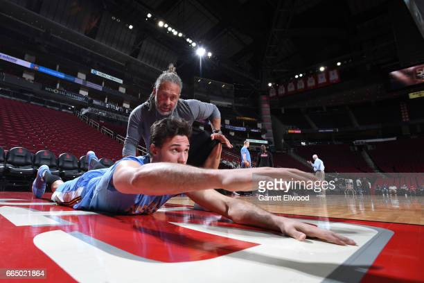 Danilo Gallinari of the Denver Nuggets warms up before the game against the Houston Rockets on April 5 2017 at Toyota Center in Houston Texas NOTE TO...