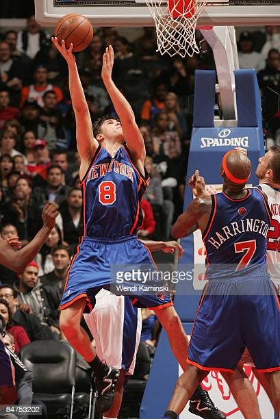 Danilo Gallinari of the New York Knicks goes up for a reverse layup against the Los Angeles Clippers at Staples Center on February 11 2009 in Los...