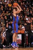 Danilo Gallinari of the New York Knicks participates in the Foot Locker Three Point Shootout on AllStar Saturday Night as part of 2010 NBA AllStar...