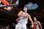 Danilo Gallinari of the New York Knicks reacts after drawing a foul on Carmelo Anthony of the Denver Nuggets during a game on December 12 2010 at...