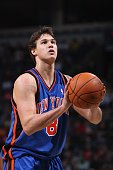 Danilo Gallinari of the New York Knicks shoots a free throw during the game against the Milwaukee Bucks on November 7 2009 at the Bradley Center in...