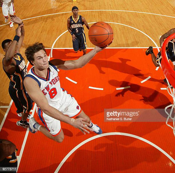 Danilo Gallinari of the New York Knicks shoots against Brandon Rush of the Indiana Pacers on November 4 2009 at Madison Square Garden in New York...