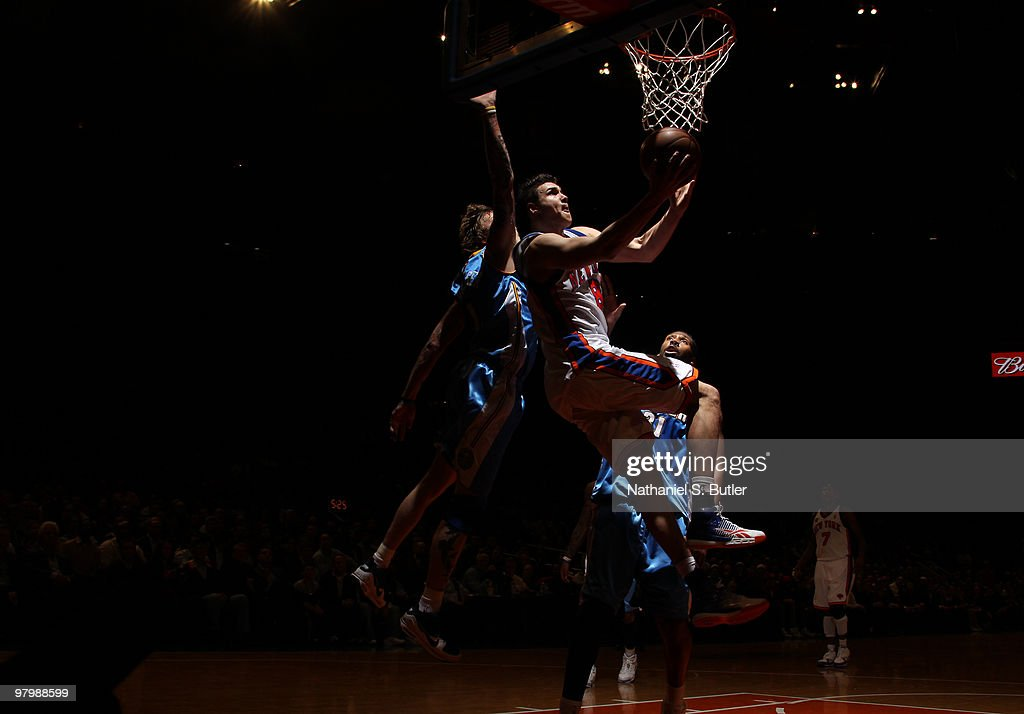 Danilo Gallinari of the New York Knicks shoots against the Denver Nuggets on March 23 2010 at Madison Square Garden in New York City NOTE TO USER...