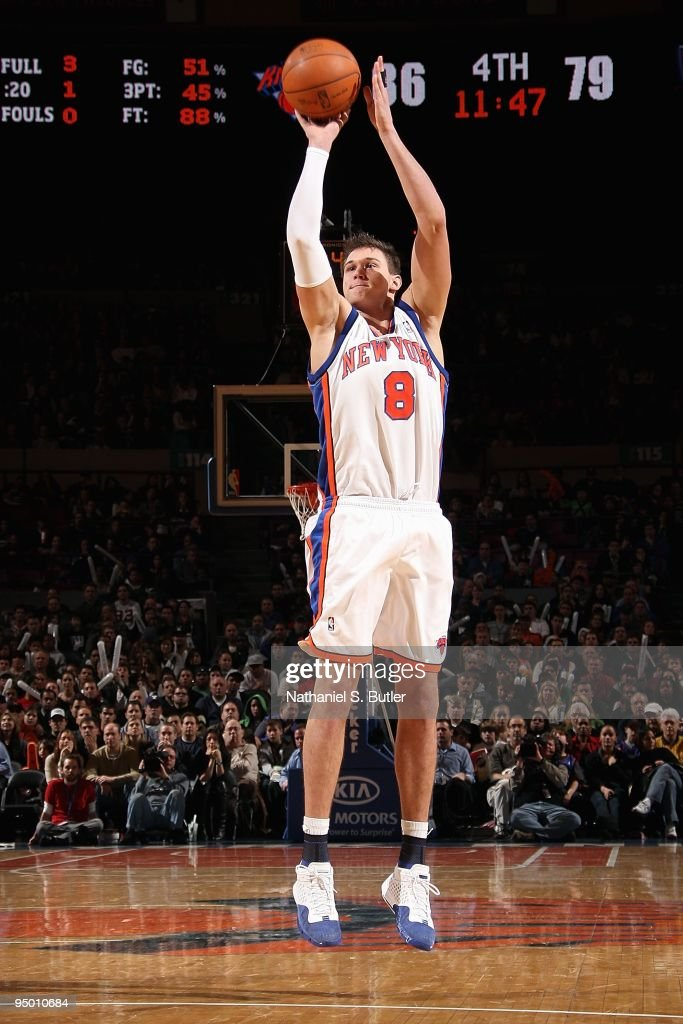 Danilo Gallinari of the New York Knicks shoots against the New Jersey Nets during the game on December 6 2009 at Madison Square Garden in New York...