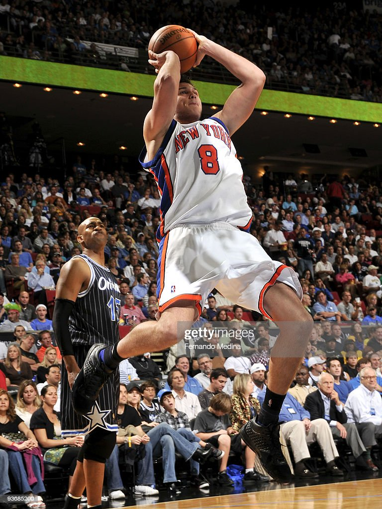 Danilo Gallinari of the New York Knicks shoots against the Orlando Magic during the game on December 2 2009 at Amway Arena in Orlando Florida NOTE TO...