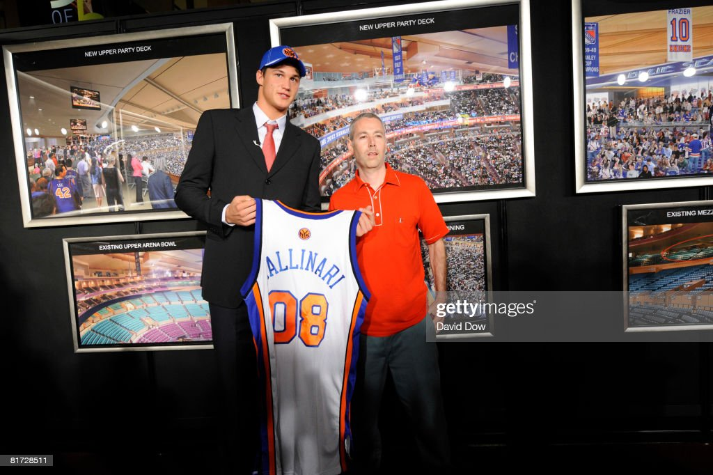 Danilo Gallinari poses with Adam Yauch of the Beastie Boys for a picture after Gallinari was selected number sixth overall by the New York Knicks during the 2008 NBA Draft at The WaMu Theatre at Madison Square Garden on June 26, 2008 in New York City.