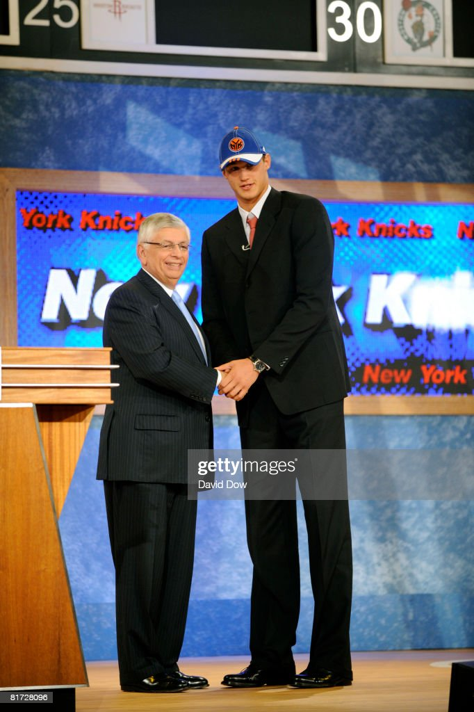 Danilo Gallinari shakes hands with NBA Commissioner David Stern after being selected number six overall by the New York Knicks during the 2008 NBA Draft at The WaMu Theatre at Madison Square Garden on June 26, 2008 in New York City.