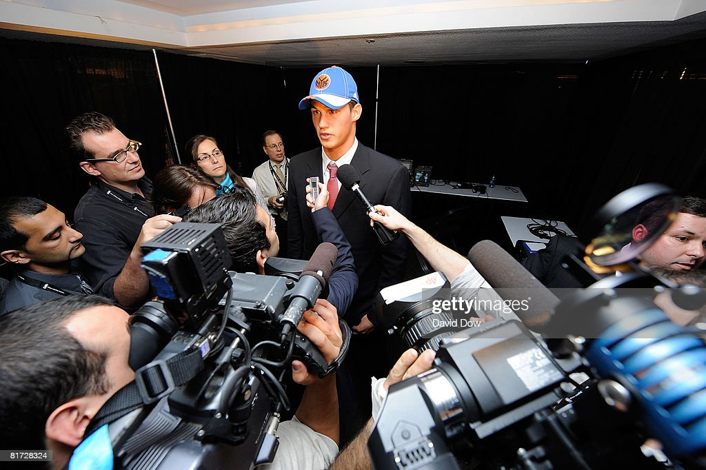 Danilo Gallinari talks with the media he was selected number six overall by the New York Knicks during the 2008 NBA Draft at The WaMu Theatre at Madison Square Garden on June 26, 2008 in New York City.