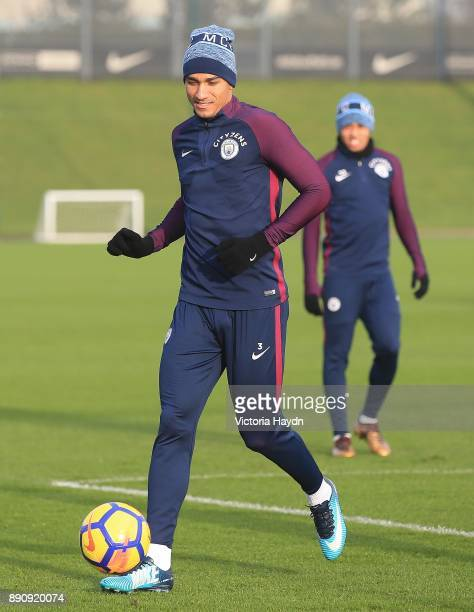 Danilo in action during training at Manchester City Football Academy on December 12 2017 in Manchester England