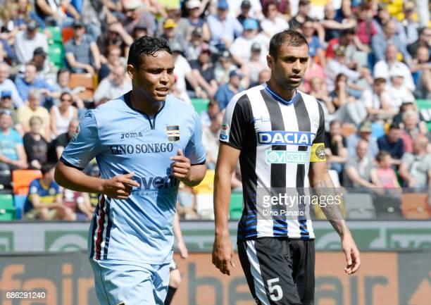 Danilo Larangeira of Udinese Calcio and Fernando Muriel of UC Sampdoria during the Serie A match between Udinese Calcio and UC Sampdoria at Stadio...