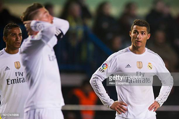 Danilo Luiz da Silva and Cristiano Ronaldo of Real Madrid CF look dejected during the La Liga match between Villarreal CF and Real Madrid CF at El...