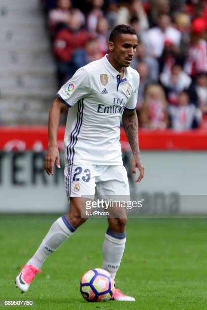 Danilo Luiz Da Silva defender of Real Madridd controls the ball during the La Liga Santander match between Sporting de Gijon and Real Madrid at...