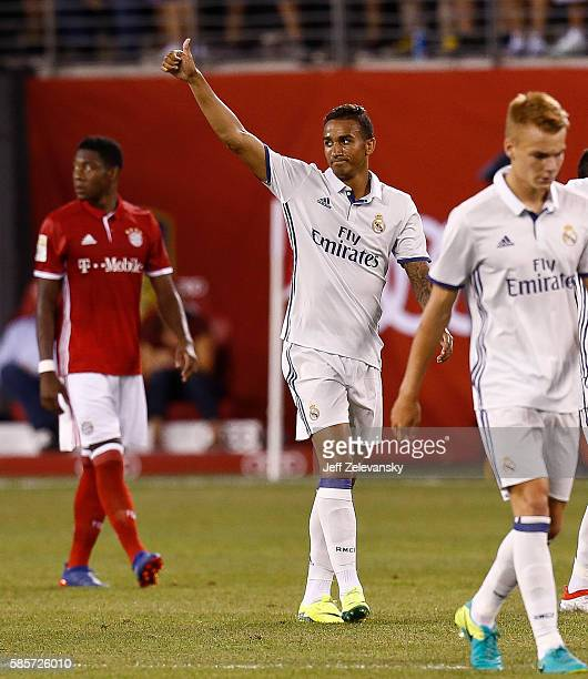 Danilo Luiz Da Silva of Real Madrid celebrates his goal against the Bayern Munich during their International Champions Cup match at MetLife Stadium...