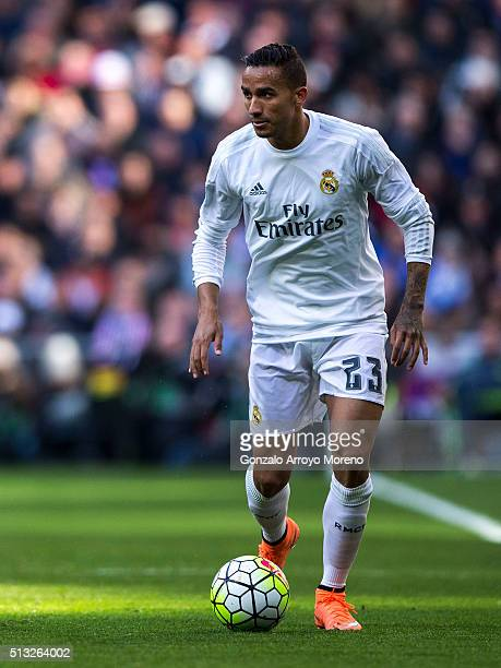 Danilo Luiz da Silva of Real Madrid CF controls the ball during the La Liga match between Real Madrid CF and Club Atletico de Madrid at Estadio...