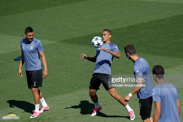 Danilo Luiz da Silva of Real Madrid CF excersises with his teammates during a training session ahead of the UEFA Champions League Semifinal Second...