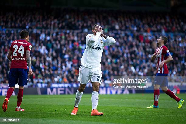 Danilo Luiz da Silva of Real Madrid CF reacts as he fail to score during the La Liga match between Real Madrid CF and Club Atletico de Madrid at...