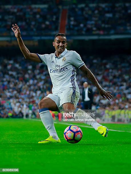 Danilo Luiz da Silva of Real Madrid CF strikes the ball during the La Liga match between Real Madrid CF and Villarreal CF at Santiago Bernabeu...