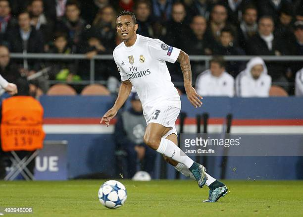Danilo Luiz da Silva of Real Madrid in action during the UEFA Champions League match between Paris SaintGermain and Real Madrid at Parc des Princes...