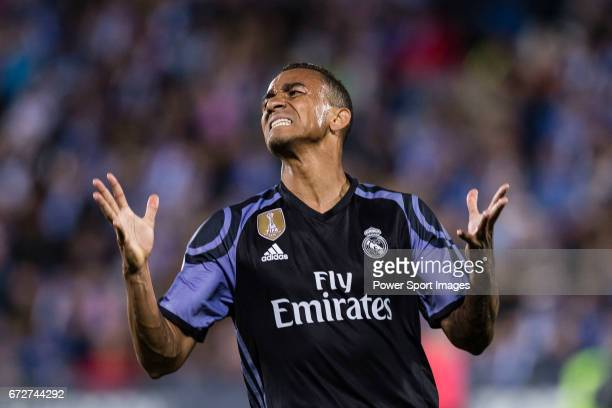 Danilo Luiz Da Silva of Real Madrid reacts during their La Liga match between Deportivo Leganes and Real Madrid at the Estadio Municipal Butarque on...