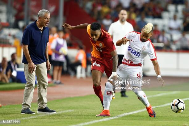 Danilo of Antalyaspor in action against Garry Rodrigues of Galatasaray during the 4th week of the Turkish Super Lig match between Antalyaspor and...