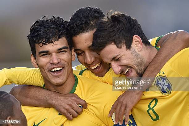 Danilo of Brazil celebrates a goal with Gabriel Jesus and Boschilia during the FIFA Under20 World Cup semifinal football match between Brazil and...