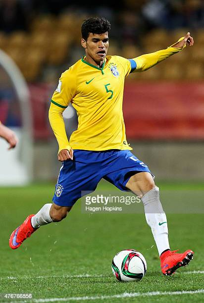 Danilo of Brazil in action during the FIFA U20 World Cup New Zealand 2015 Round of 16 match between Brazil and Uruguay at Stadium Taranaki on June 11...