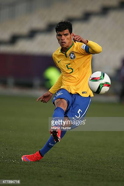 Danilo of Brazil looks to pass during the FIFA U20 World Cup Semi Final match between Brazil and Senegal at Christchurch Stadium on June 17 2015 in...