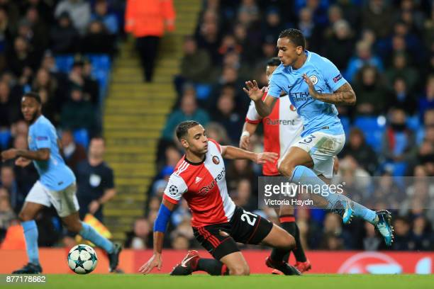 Danilo of Manchester City and Sofyan Amrabat of Feyenoord in action during the UEFA Champions League group F match between Manchester City and...