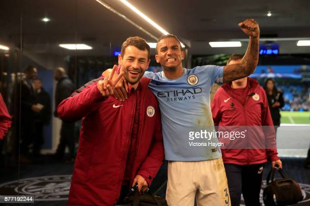 Danilo of Manchester City celebrates in the tunnel after the UEFA Champions League group F match between Manchester City and Feyenoord at Etihad...