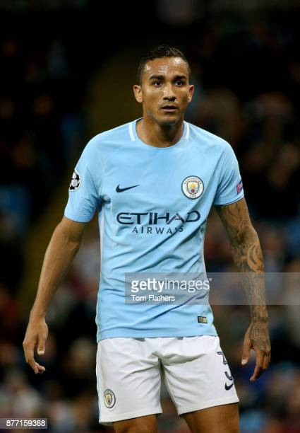 Danilo of Manchester City looks on during the UEFA Champions League group F match between Manchester City and Feyenoord at Etihad Stadium on November...